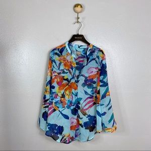 Chico's Long Sleeve Teal Floral Popover Blouse, 2